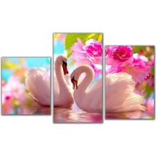 Мини модульная картина Лебеди в цветах Toplight 55х94см TL-MM1003