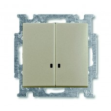 Выключатель двухклавишный ABB Basic55 10A 250V с подсветкой шампань 2CKA001012A2168