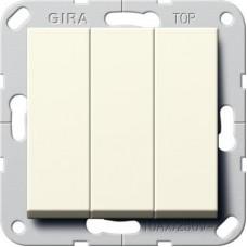 Выключатель трехклавишный Gira System 55 10A 250V кремовый глянцевый 284401