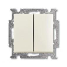 Выключатель двухклавишный ABB Basic55 10A 250V слоновая кость 2CKA001012A2148