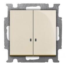 Выключатель двухклавишный ABB Basic55 10A 250V с подсветкой слоновая кость 2CKA001012A2157