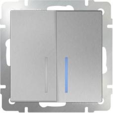 Выключатель двухклавишный проходной с подсветкой серебряный WL06-SW-2G-2W-LED 4690389053887