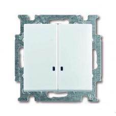 Выключатель двухклавишный ABB Basic55 10A 250V с подсветкой альпийский белый 2CKA001012A2154