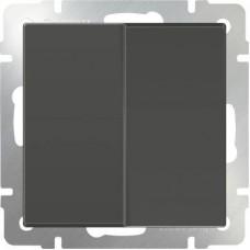 Выключатель двухклавишный проходной серо-коричневый WL07-SW-2G-2W 4690389054006