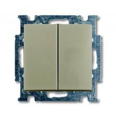 Выключатель двухклавишный ABB Basic55 10A 250V шампань 2CKA001012A2167