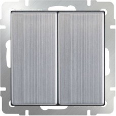 Выключатель двухклавишный глянцевый никель WL02-SW-2G 4690389045752
