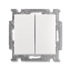 Выключатель двухклавишный ABB Basic55 10A 250V альпийский белый 2CKA001012A2141
