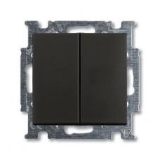 Выключатель двухклавишный ABB Basic55 10A 250V chateau-черный 2CKA001012A2177