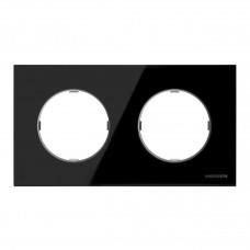 Рамка 2-постовая ABB Sky Moon стекло чёрное 2CLA867200A3101