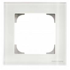Рамка 1-постовая ABB Sky стекло белое 2CLA857100A3001