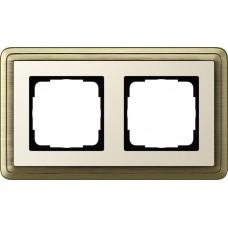 Рамка 2-постовая Gira ClassiX бронза/кремовый 0212623