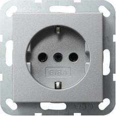 Розетка Gira System 55 Schuko с/з 16A 250V безвинтовой зажим алюминий 018826