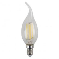 Лампа светодиодная филаментная ЭРА E14 5W 2700K свеча на ветру прозрачная F-LED BXS-5W-827-E14