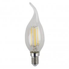 Лампа светодиодная филаментная ЭРА E14 5W 4000K свеча на ветру прозрачная F-LED BXS-5W-840-E14