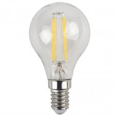 Лампа светодиодная филаментная ЭРА E14 5W 2700K шар прозрачный F-LED P45-5W-827-E14