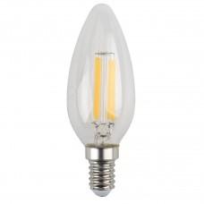 Лампа светодиодная филаментная ЭРА E14 5W 4000K свеча прозрачная F-LED B35-5W-840-E14