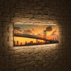 Лайтбокс панорамный Бруклинский мост на рассвете 60x180-p020