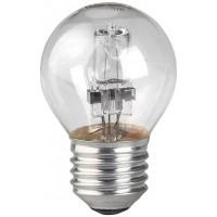 Лампа галогенная ЭРА E27 28W 2700K прозрачная HAL-P45-28W-230V-E27-CL