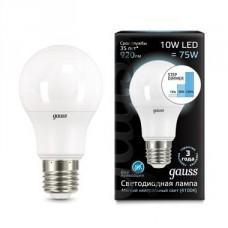 Лампа светодиодная Gauss диммируемая E27 10W 4100K шар матовый 102502210-S