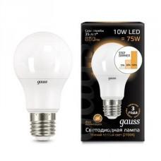 Лампа светодиодная Gauss диммируемая E27 10W 2700K шар матовый 102502110-S