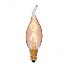Лампа накаливания Sun Lumen E14 40W свеча на ветру золотая 052-078