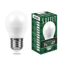 Лампа светодиодная Saffit E27 7W 4000K Шар Матовая SBG4507 55037