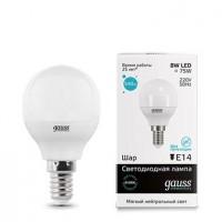 Лампа светодиодная Gauss E14 8W 4100K шар матовый 53128