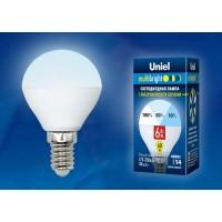 Лампа светодиодная Uniel (UL-00002376) E14 6W 4000K шар матовый LED-G45-6W/NW/E14/FR/MB PLM11WH
