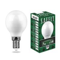 Лампа светодиодная Saffit E14 7W 6400K Шар Матовая SBG4507 55123