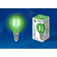 Лампа светодиодная Uniel (UL-00002987) E14 5W шар зеленый LED-G45-5W/GREEN/E14 GLA02GR