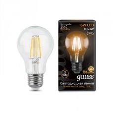 Лампа светодиодная Gauss филаментная A60 E27 6W 2700К шар прозрачный 1/10/50 102802106
