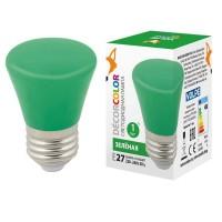 Лампа декоративная светодиодная (UL-00005640) Volpe E27 1W зеленая матовая LED-D45-1W/GREEN/E27/FR/С BELL