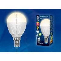Лампа светодиодная Uniel (UL-00002419) E14 7W 3000K шар матовый LED-G45 7W/WW/E14/FR PLP01WH