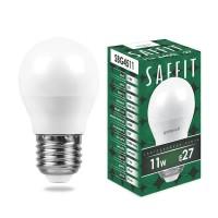 Лампа светодиодная Saffit E27 11W 6400K Шар Матовая SBG4511 55141