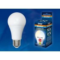 Лампа светодиодная Uniel (UL-00001569) E27 9W 4000K шар матовый LED-A60-9W/WW+NW/E27/FR PLB01WH