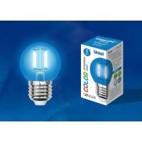 Лампа светодиодная Uniel (UL-00002990) E27 5W шар синий LED-G45-5W/BLUE/E27 GLA02BL