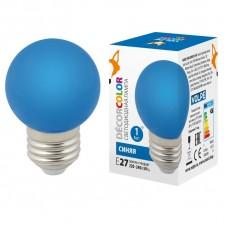 Лампа декоративная светодиодная (UL-00005647) Volpe E27 1W синяя LED-G45-1W/BLUE/E27/FR/С
