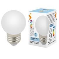 Лампа декоративная светодиодная (UL-00005806) Volpe E27 1W 6000K матовая LED-G45-1W/6000K/E27/FR/С
