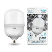 Лампа светодиодная Gauss E27 60W 4000K матовая 63226
