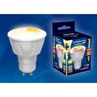 Лампа светодиодная Uniel (UL-00001664) GU10 6W 3000K полусфера матовая LED-JCDR-6W/WW/GU10/FR/DIM PLP01WH