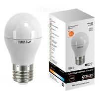 Лампа светодиодная Gauss E27 6W 2700K шар матовый 53216