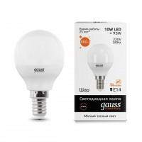 Лампа светодиодная Gauss E14 10W 2700K шар матовый 53110