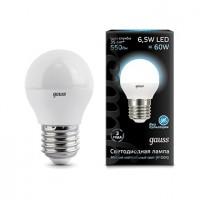 Лампа светодиодная Gauss E27 6.5W 4100K шар матовый 105102207