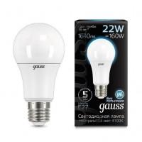 Лампа светодиодная Gauss E27 22W 4100К груша матовая 102502222