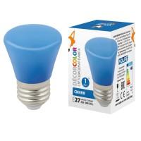 Лампа декоративная светодиодная (UL-00005639) Volpe E27 1W синяя матовая LED-D45-1W/BLUE/E27/FR/С BELL