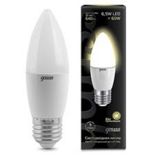 Лампа светодиодная Gauss E27 6.5W 2700К свеча матовая 103102107