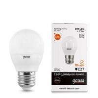 Лампа светодиодная Gauss E27 8W 2700K шар матовый 53218