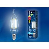 Лампа светодиодная Uniel (UL-00001374) E14 6W 4000K свеча на ветру LED-CW35-6W/NW/E14/CL PLS02WH