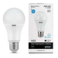 Лампа светодиодная Gauss E27 20W 6500K шар матовый 23239