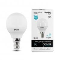 Лампа светодиодная Gauss E14 10W 4100K шар матовый 53120